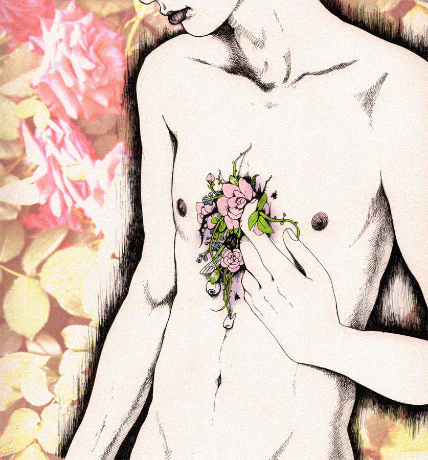man holding flowers to a dent in his chest