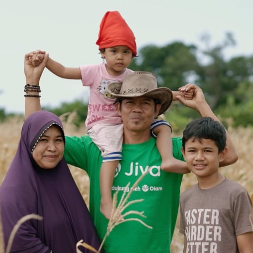 A farming family that has signed up for Jiva.