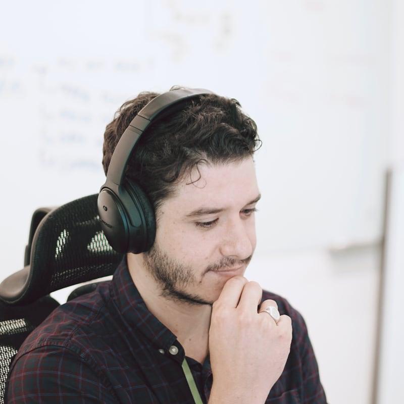 Jiva team member working at their desk.