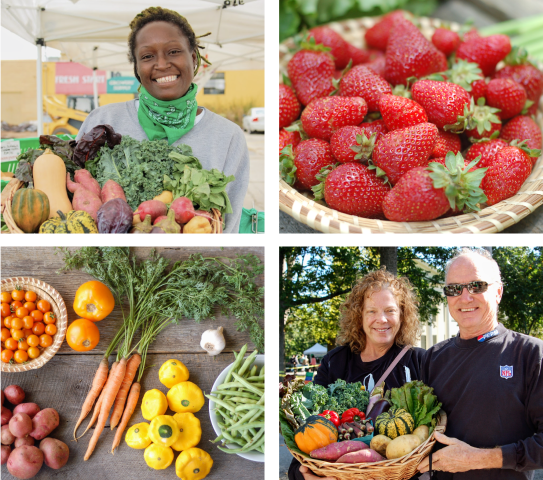 Collection of four images from Barr Farms, a local farm that provides grass-fed beef, pastured chicken and organic produce near Louisville, Kentucky. Top left photo is a lady with organic veggies. The top right is a photo of strawberries. Bottom right photo is a couple with a basket of organic veggies. Bottom left photo is a colorful photo of fresh produce.