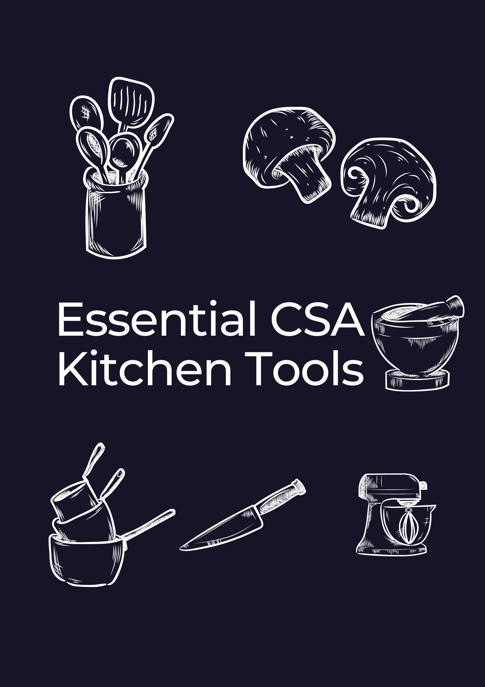 Blue and white background for essential kitchen tools from Barr Farms near me