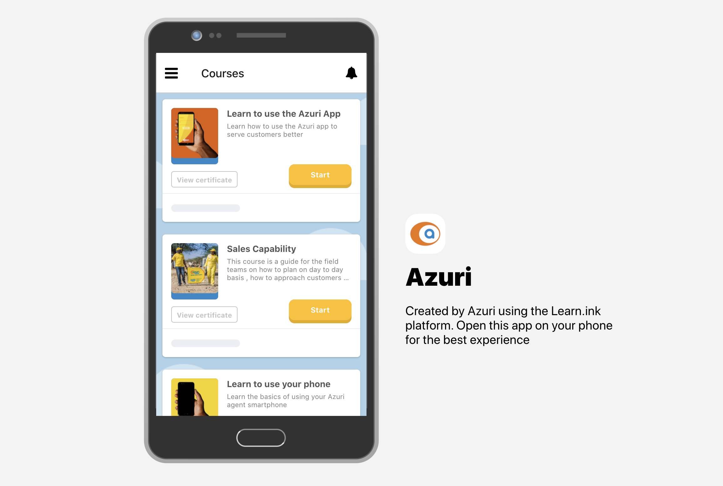 Screenshot of Azuri's microlearning training app created through the Learn.ink platform