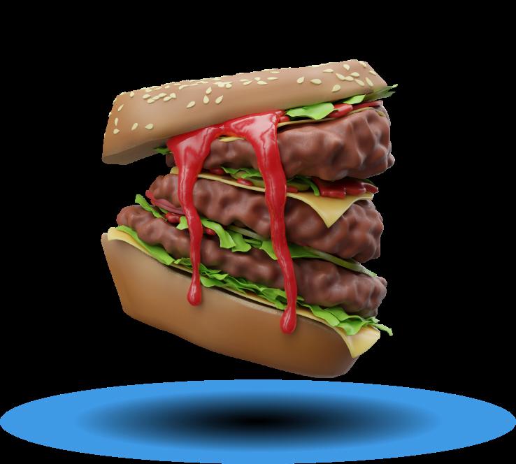 TMG hamburger cheeseburger 3D logo