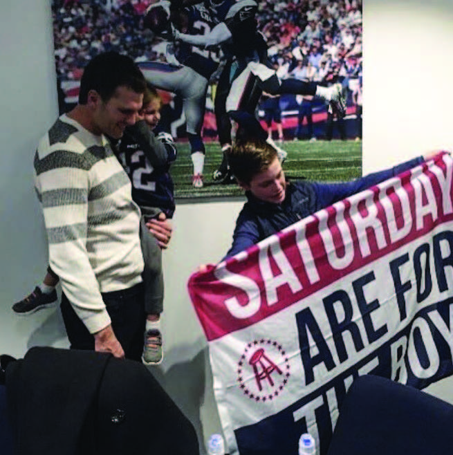 barstool sports saturdays are for the boys flag at foot ball game with Dave portnoy