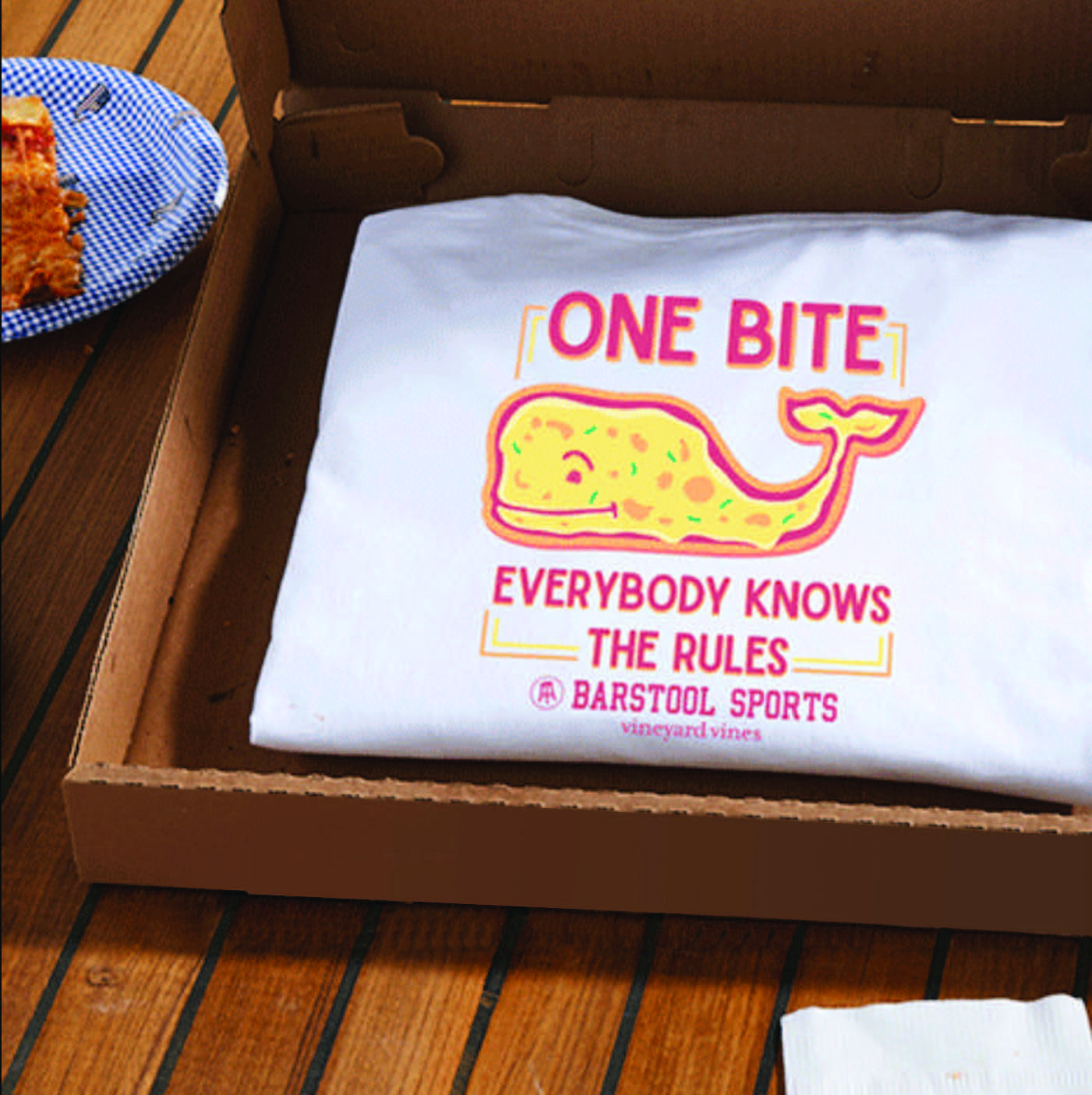barstool sports partnership with vineyard vines one bite everyone knows the rules t shirt
