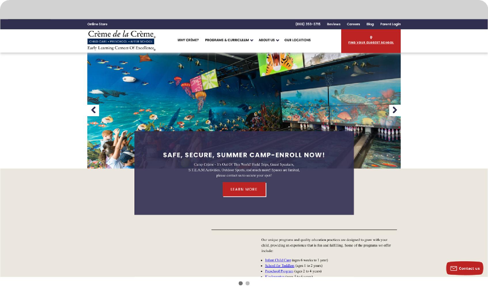 creme de la creme website mockup