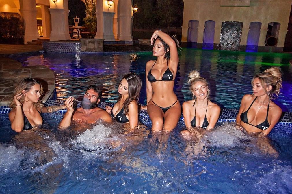 Dan Bilzerian in hot tub with models