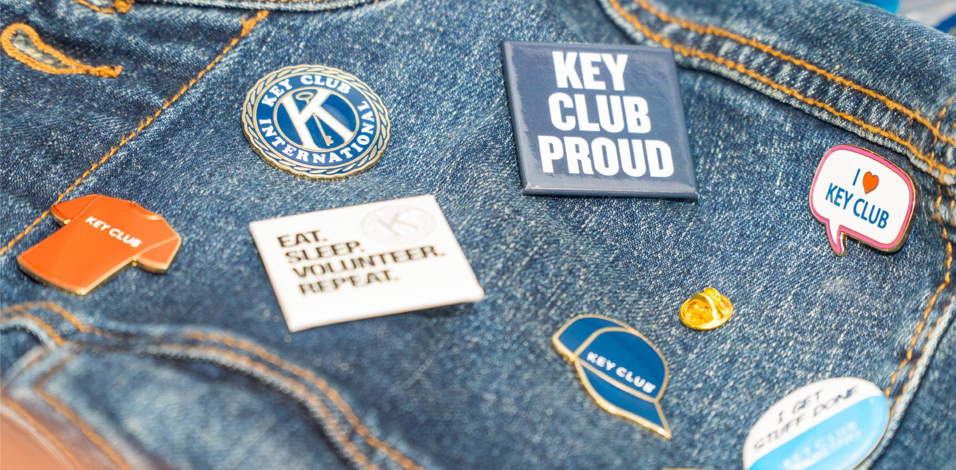 Kiwanis Key Club Kiwanis International Kiwanis Pins on denim jacket