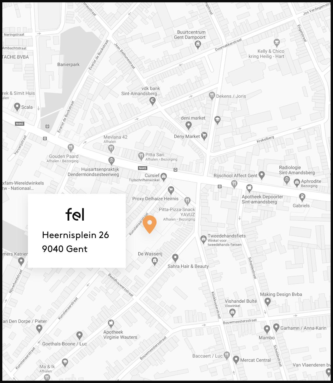 Kaart met locatie van Fel op aangeduid, Heernisplein 26, 9040 Gent