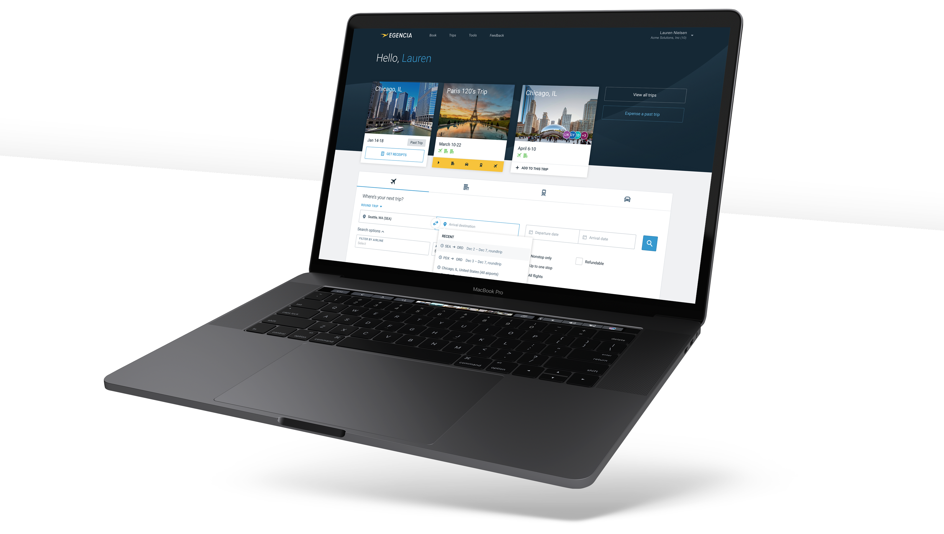 Floating macbook displaying a new design for a travel search form