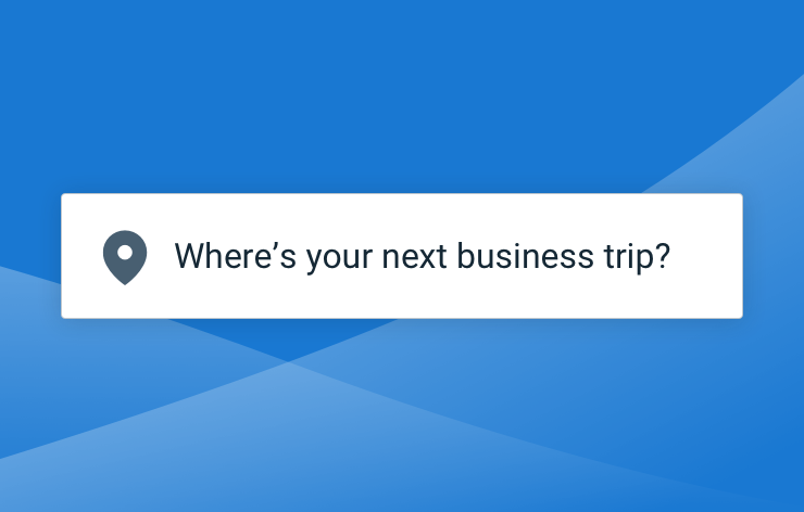 """Location input on a bright blue background reading """"where is your next business trip?"""""""