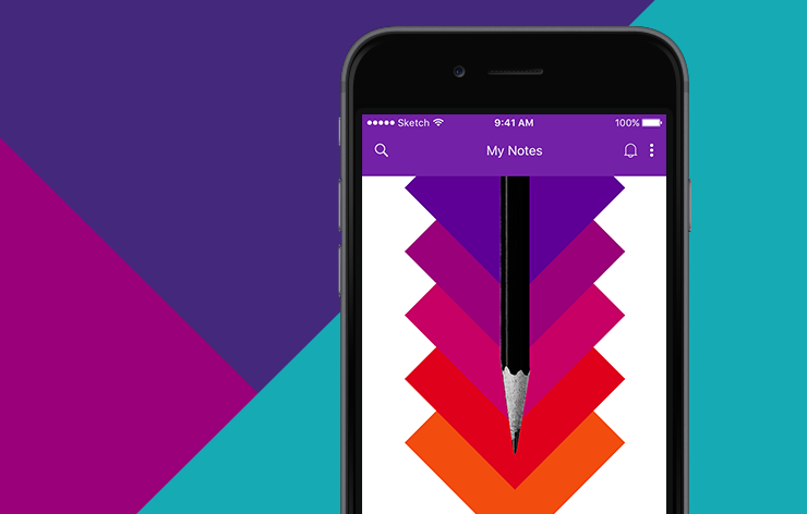iPhone floating on a multi-colored background displaying a screen from the newly redesigned OneNote