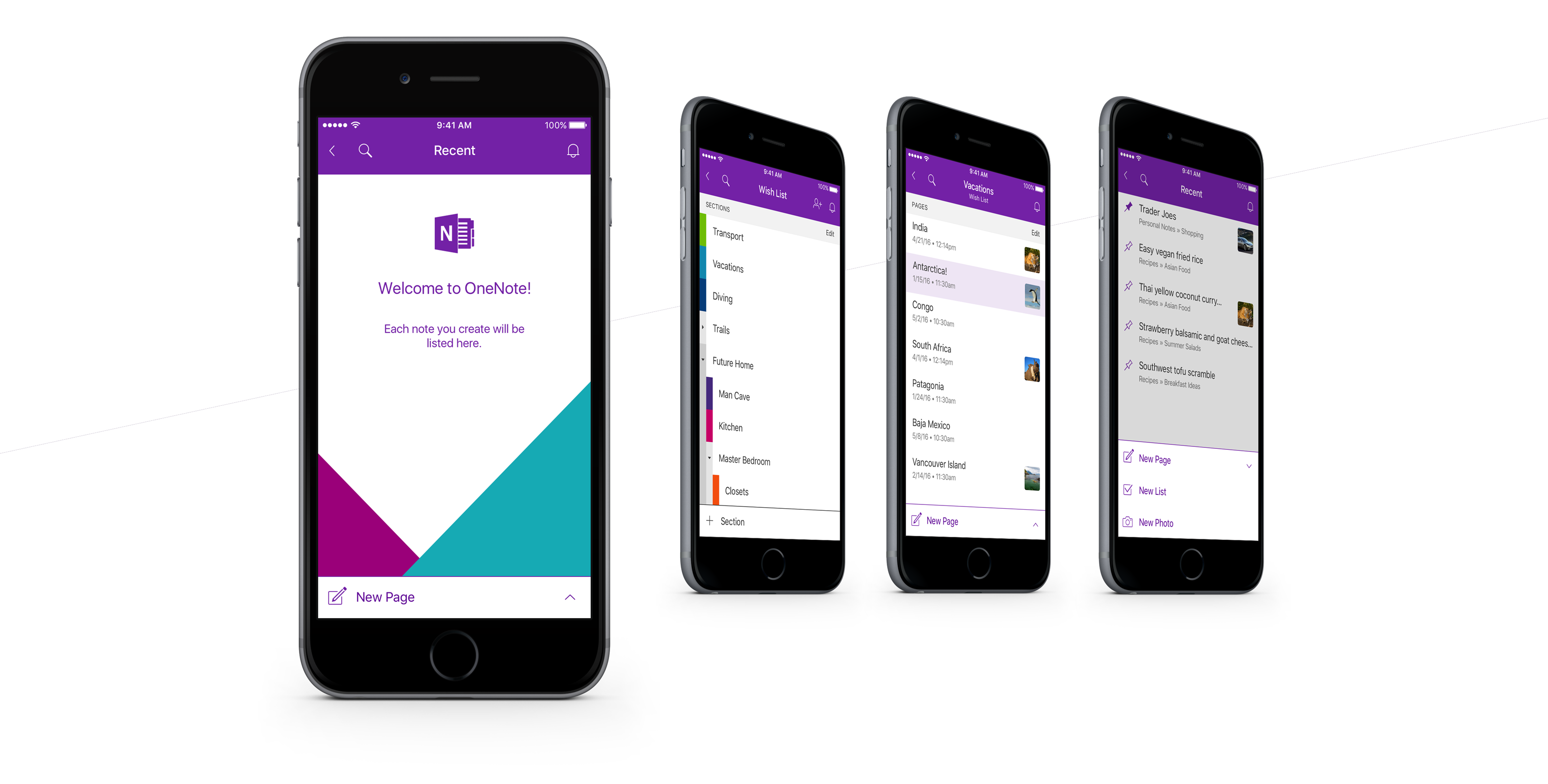 4 floating iPhones in a row displaying screens of a newly redesigned OneNote app
