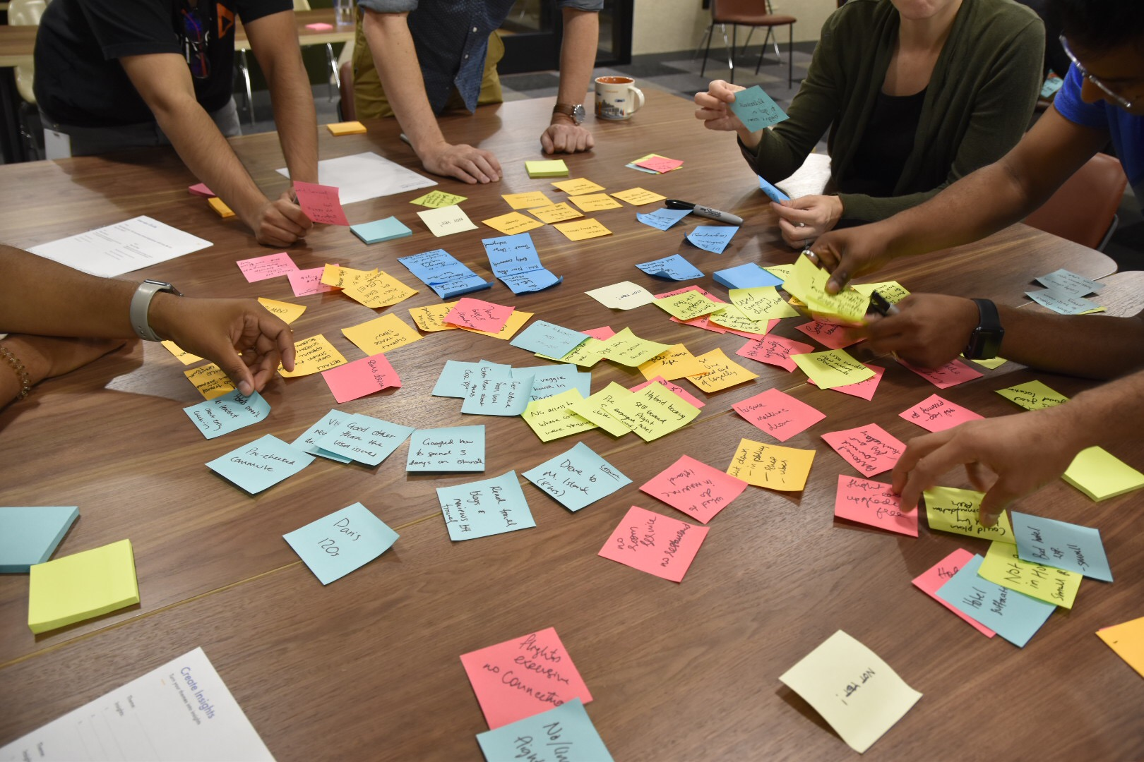 Dozens of multi-colored sticky notes spread across a table