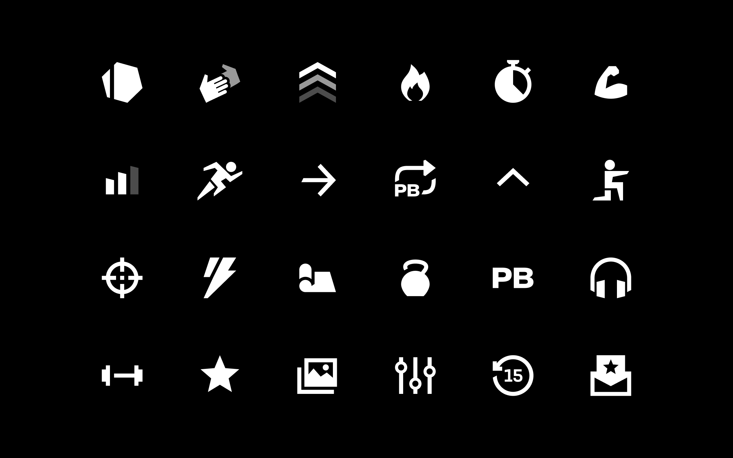 Grid of eight white fitness icons on a black background