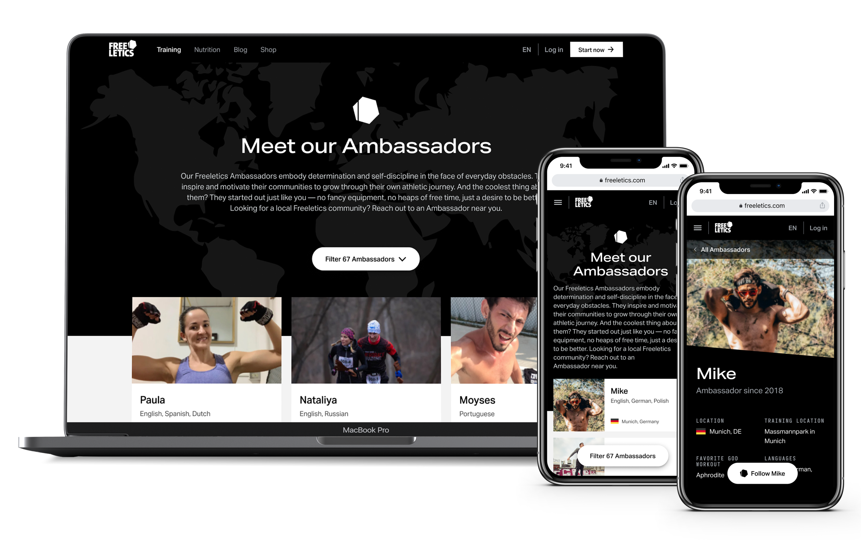 Ambassador showcase with mockups on macbook and iphone