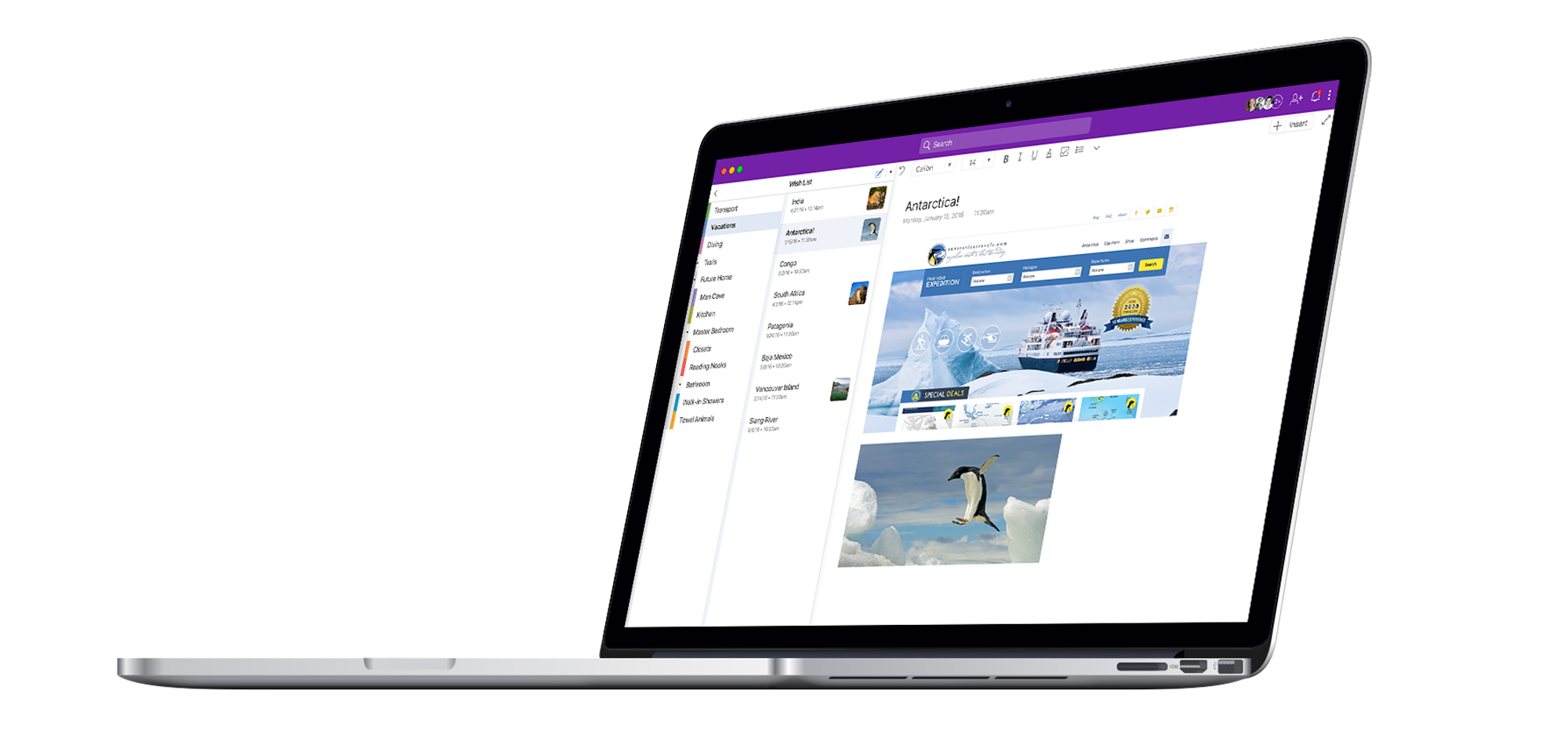 Floating macbook displaying a new design for OneNote on desktop