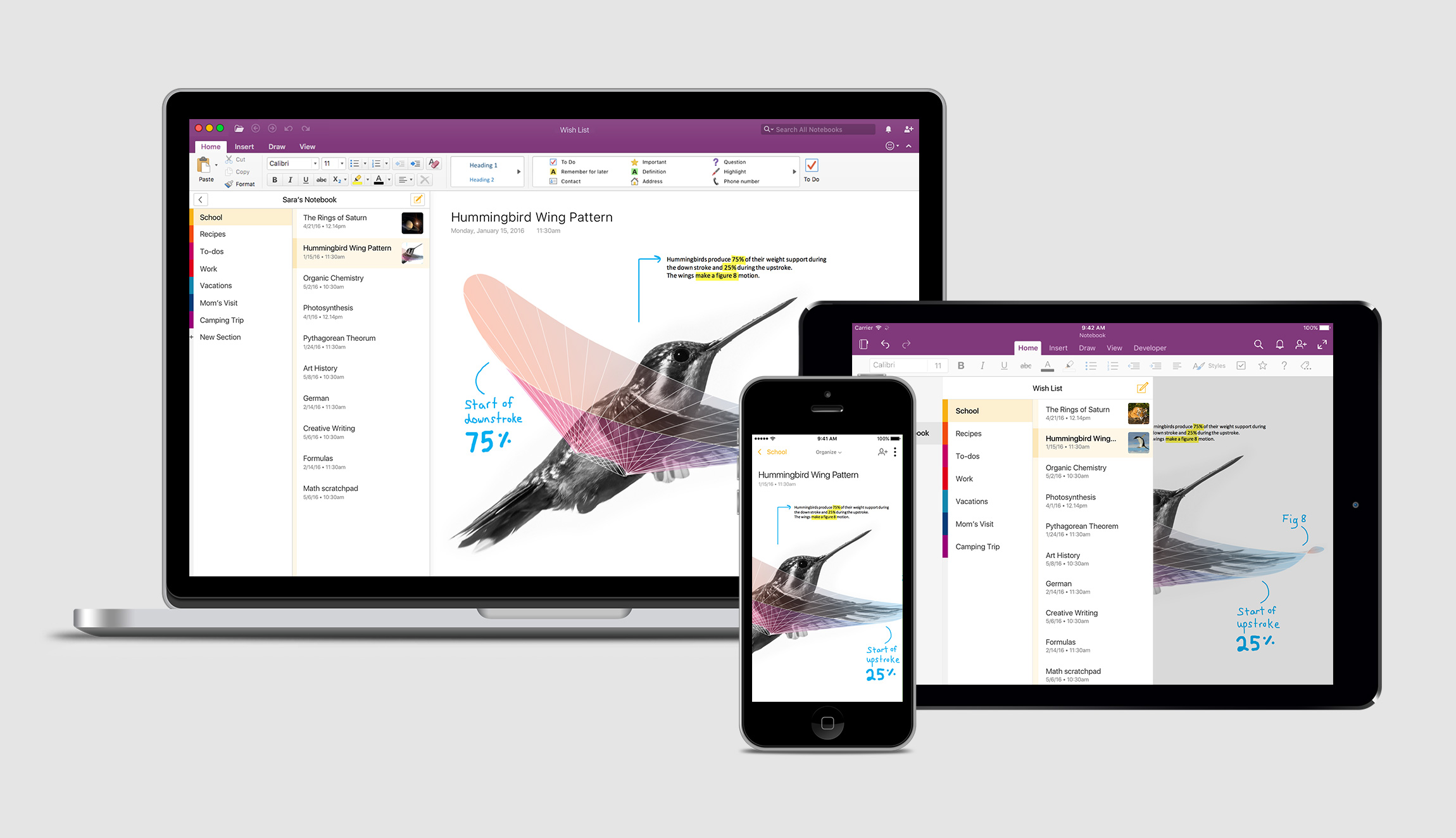 New OneNote design displayed in a Macbook, iPad, and iPhone all laid out on top of each other