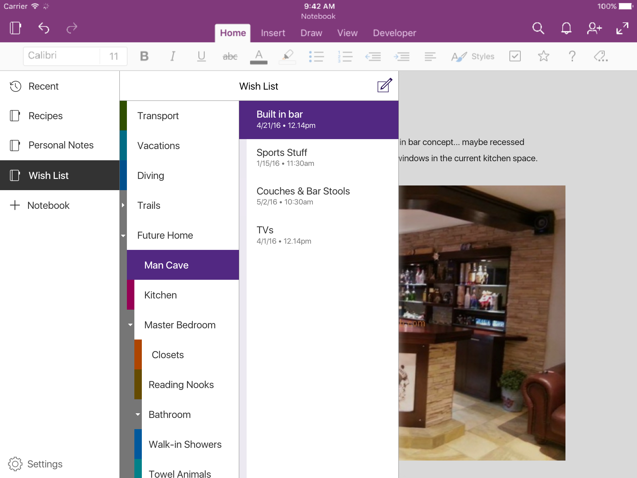 Screenshot of OneNote on ipad with the accessibility palette enabled