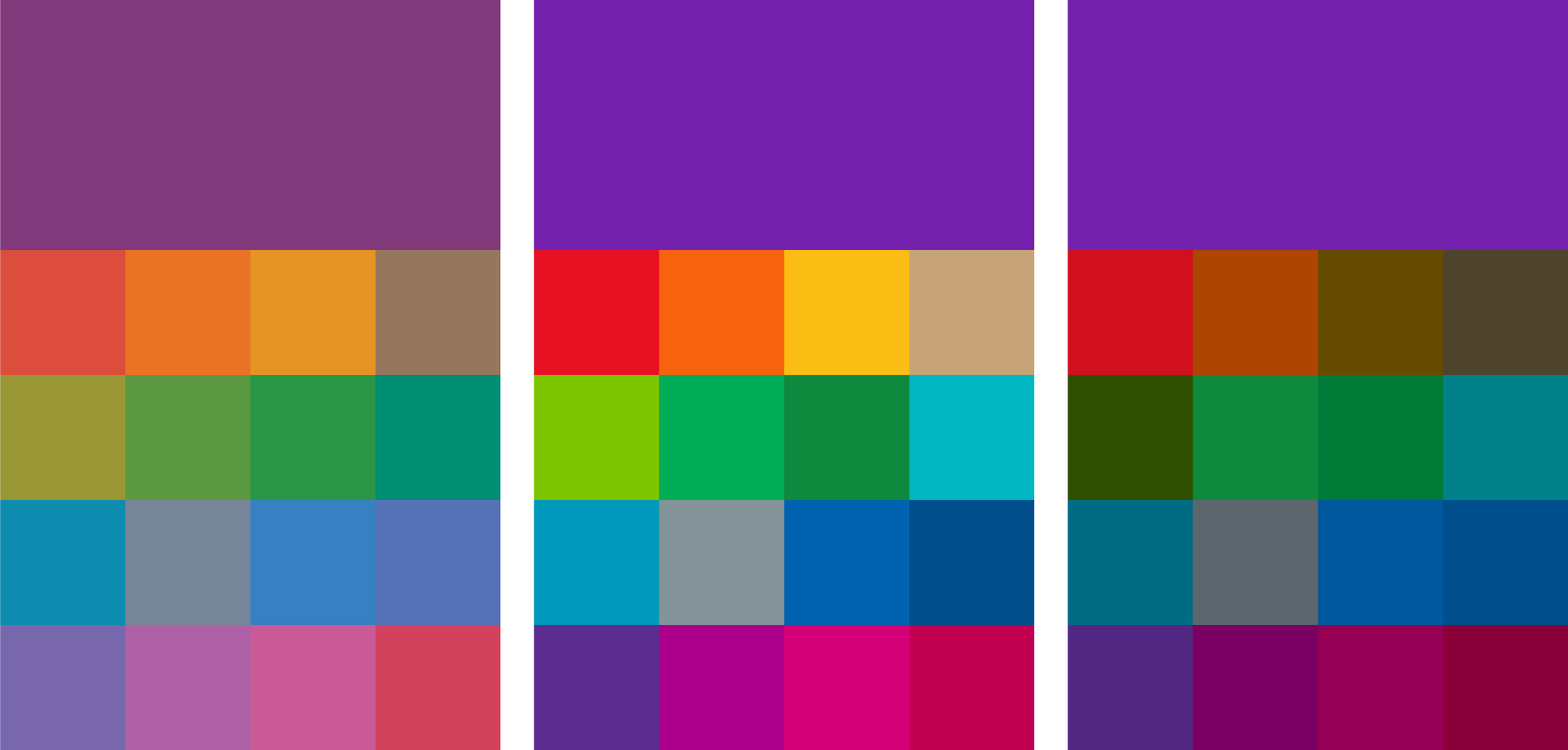 Layout of the old OneNote color palette, the new color palette, and the A11y color palette