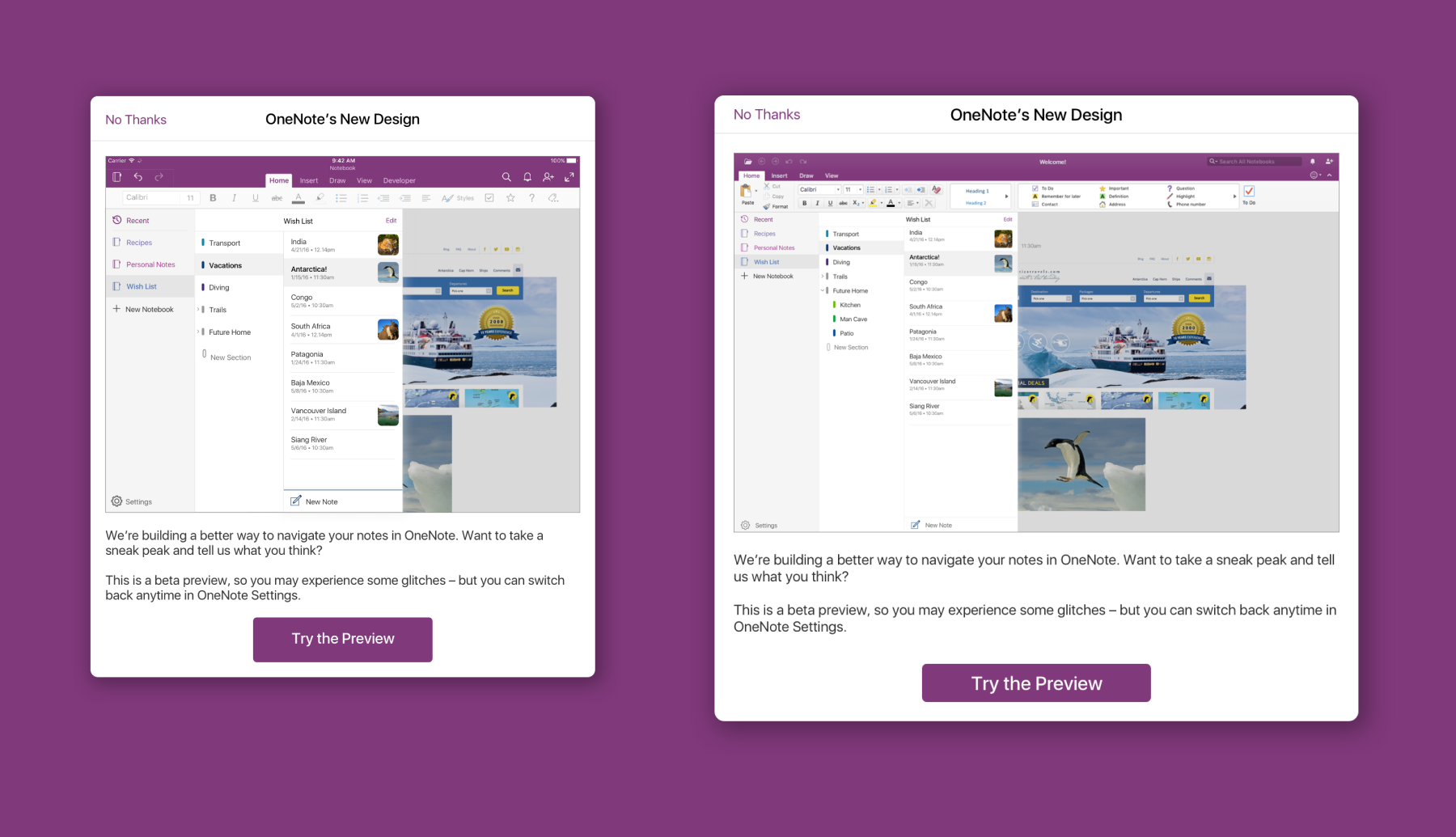 Opt-in modals displaying a new beta design for OneNote
