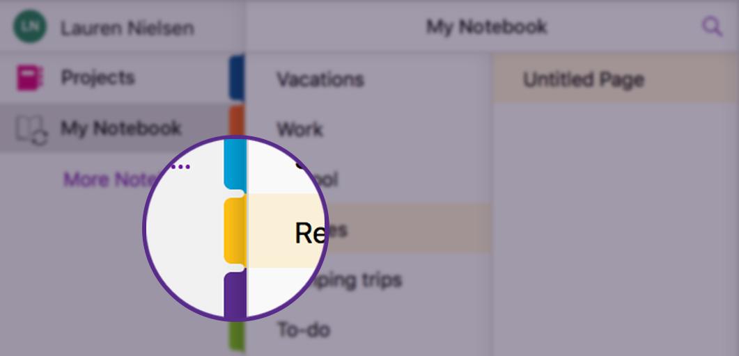 Detail screenshot of notebook tabs design