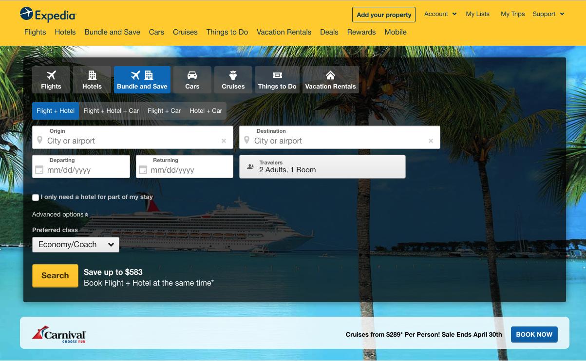 Screenshot of the Expedia.com search form