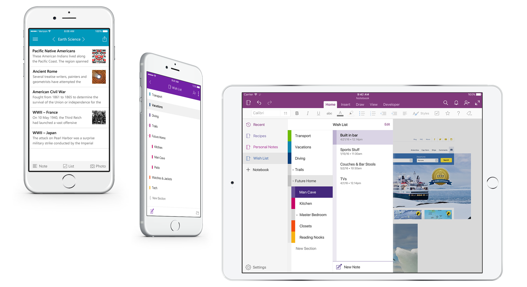 Two floating iPhones next to a horizontal iPad displaying design iterations of OneNote