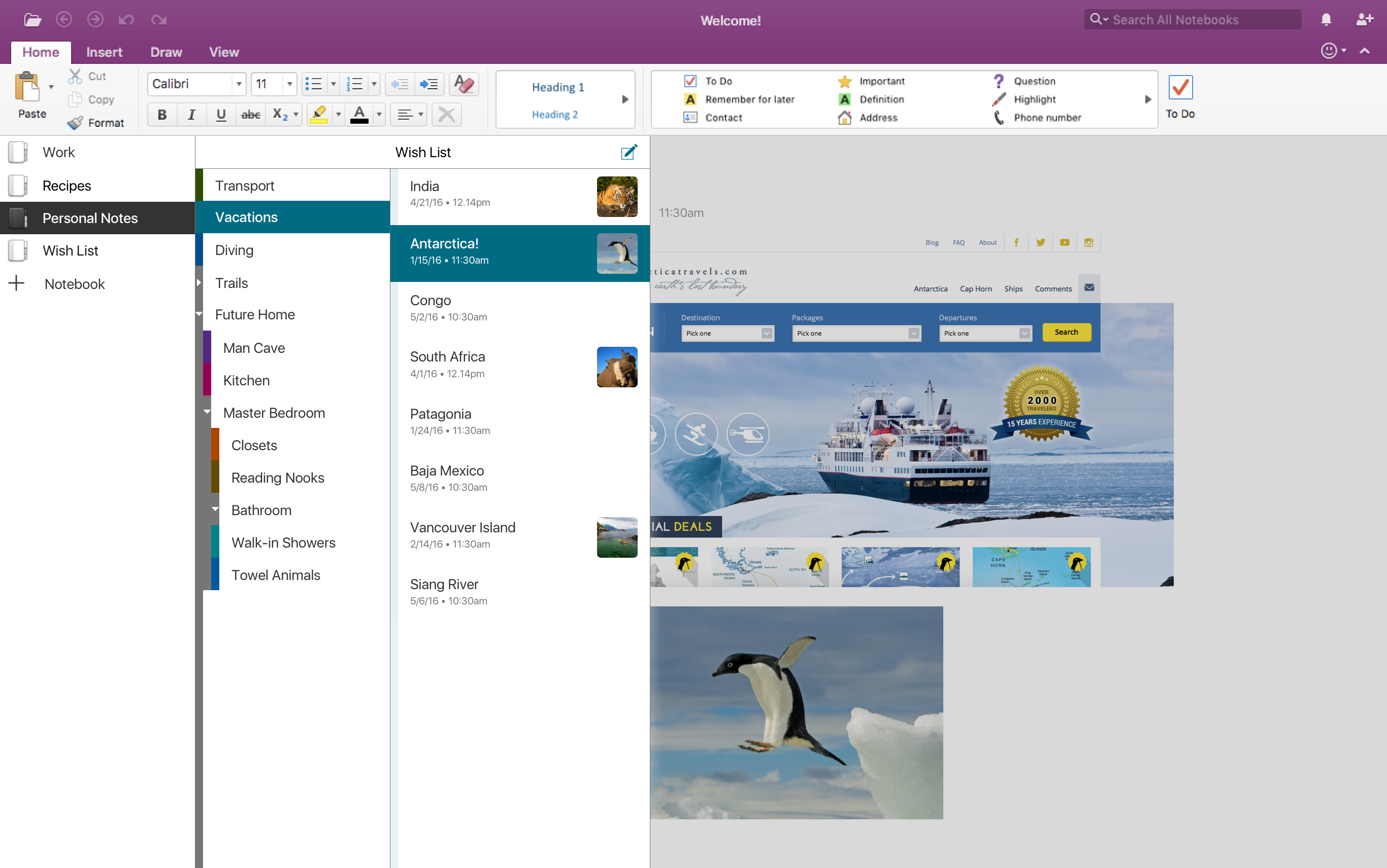 Screenshot of OneNote on a Macbook with the accessibility palette enabled