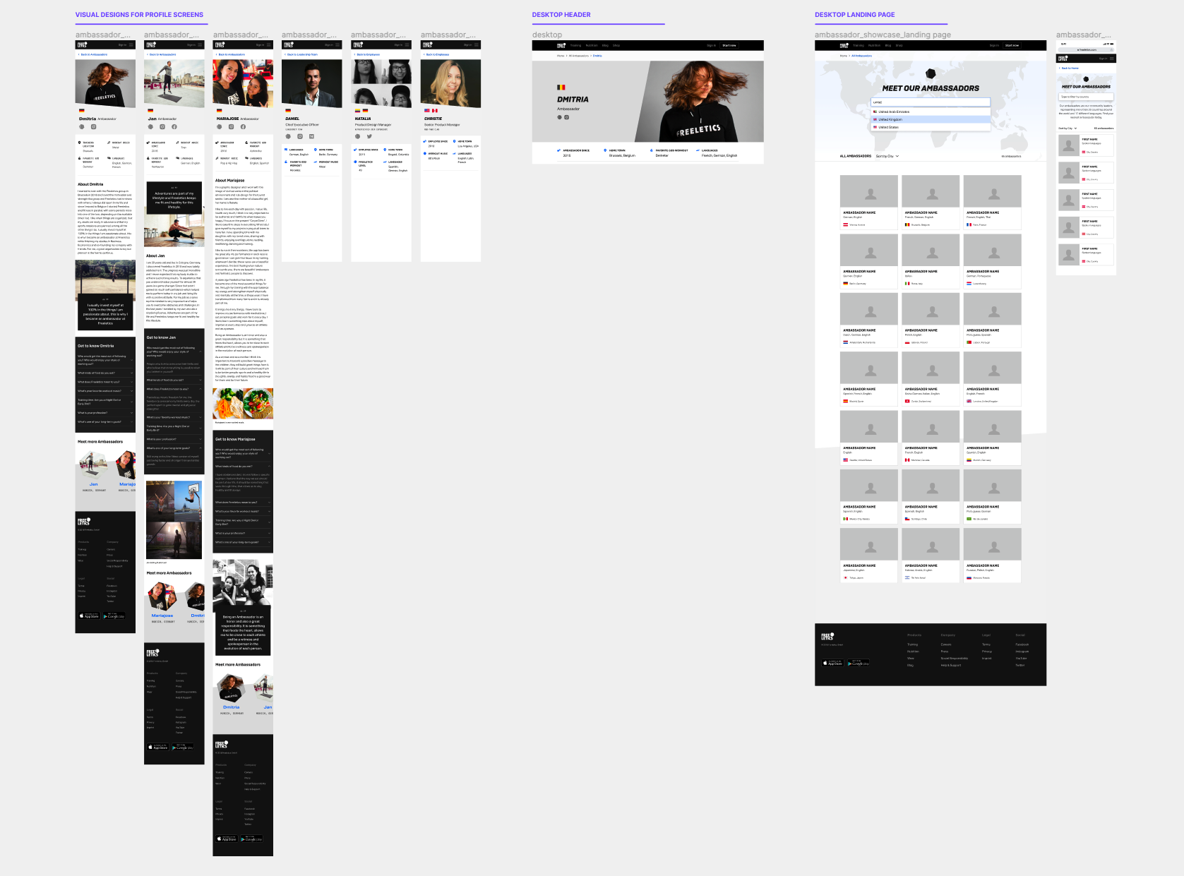 Multiple visual design explorations of the ambassador page designs
