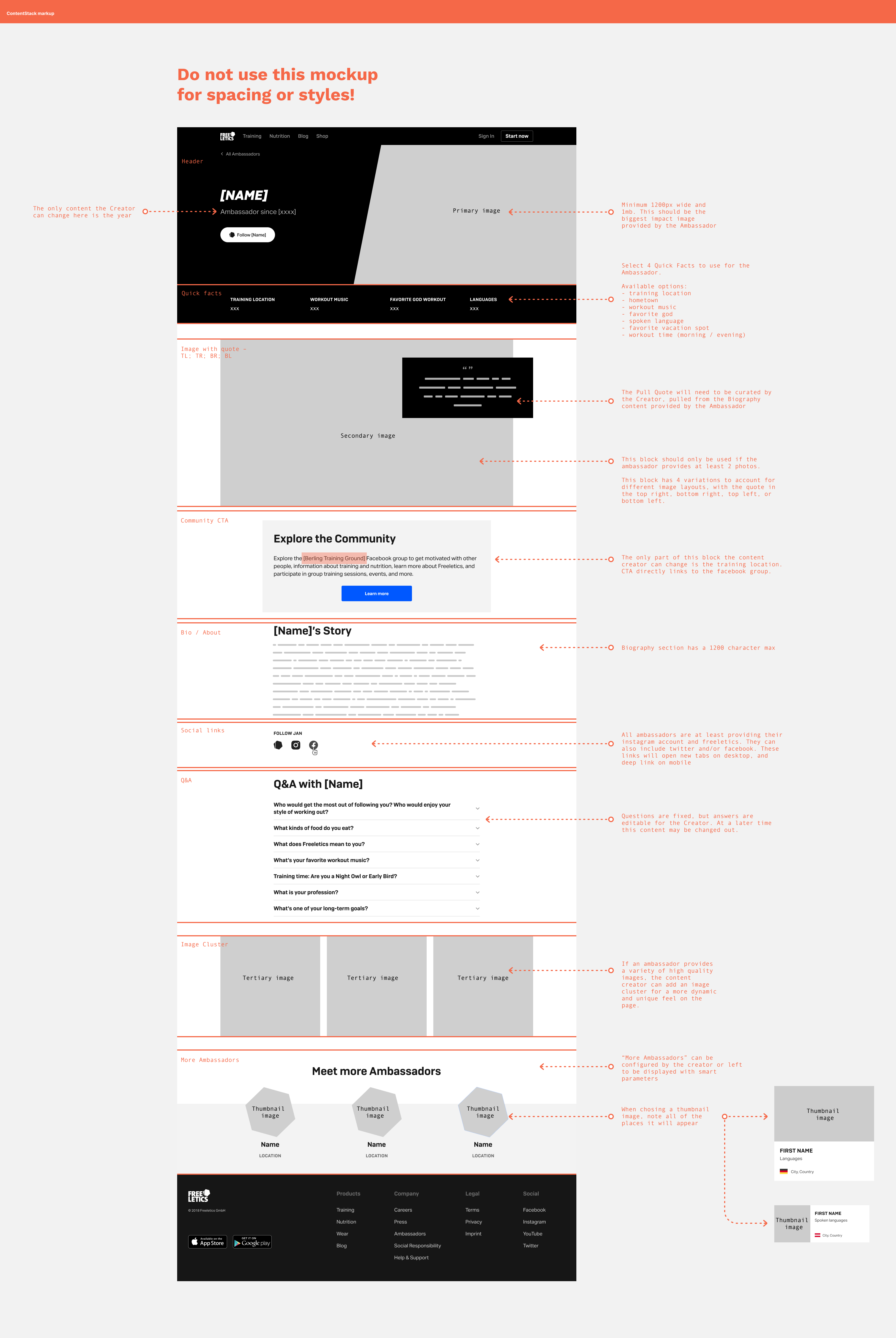 Image of a webpage design with annotations and markup for content creators