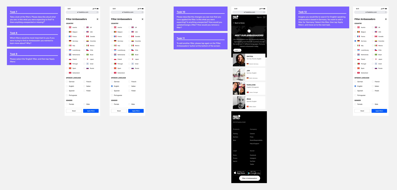 Screenshot of mobile screen designs with the user testing task written alongside