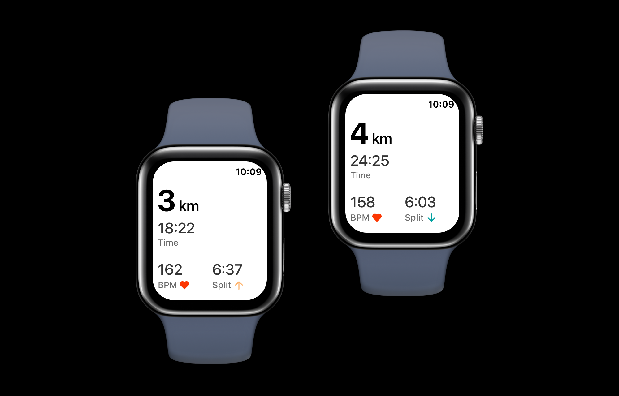 Two Apple Watches side by side displaying screens that show running interval screens