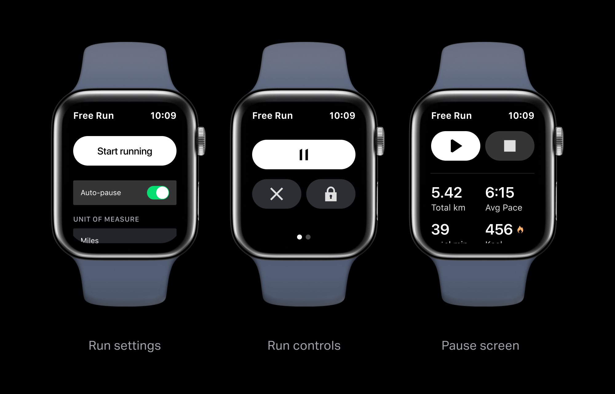Three Apple Watches side by side showing different states of the running Pause screen with metrics
