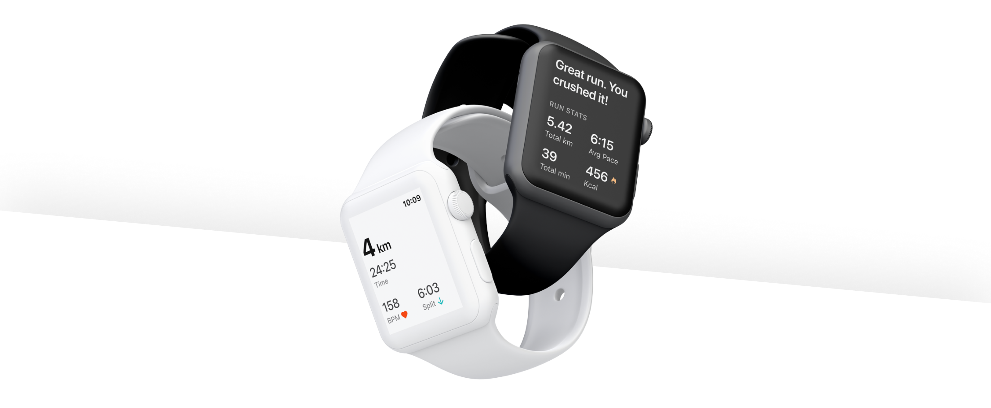 Two apple watches entwined together displaying screens of a new Run experience