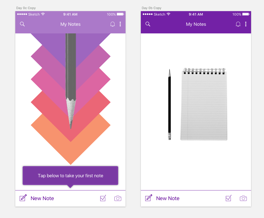 Design iteration of creating your first note in OneNote