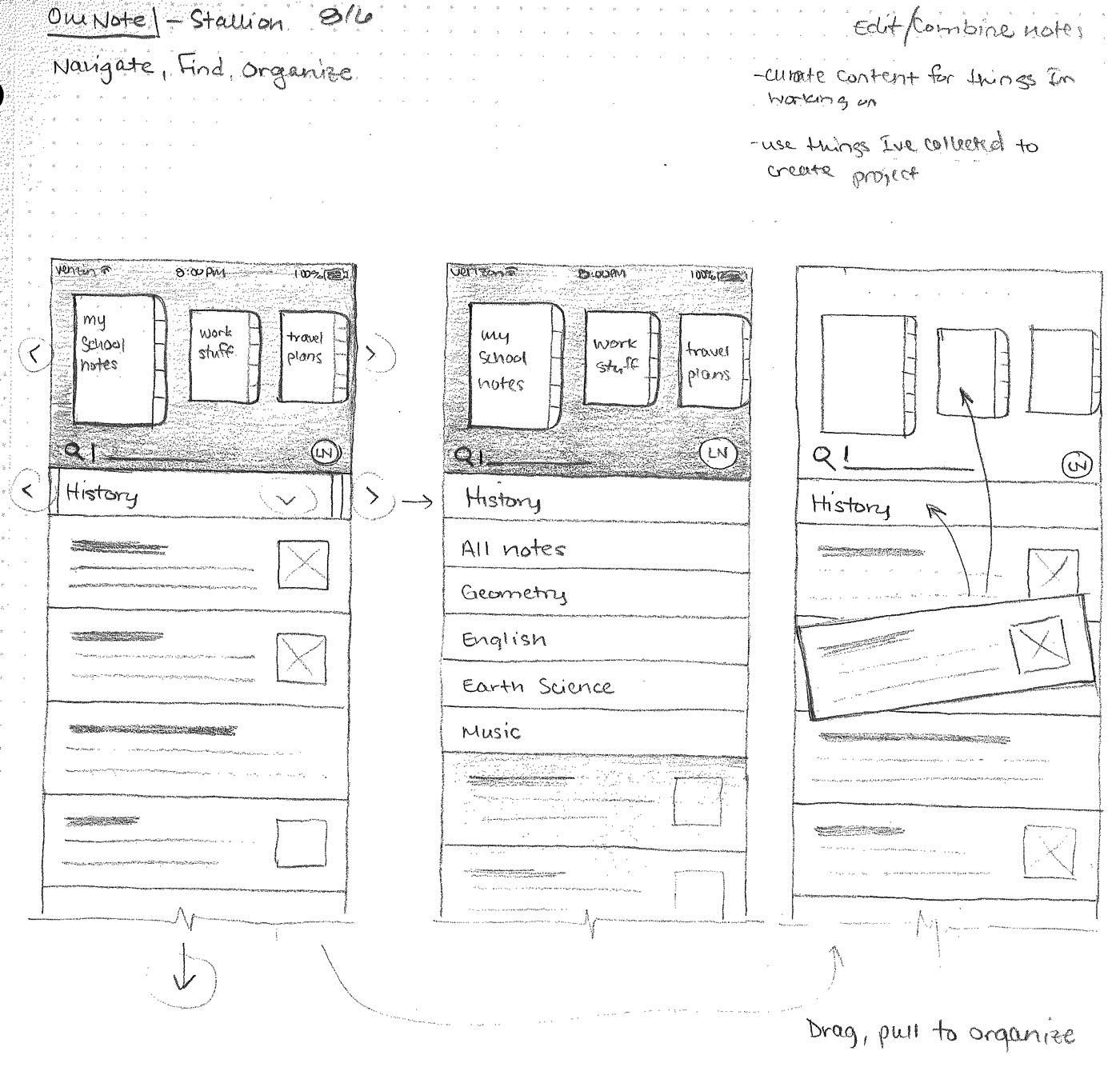 Scan of a sketchbook page illustrating ways of find your notes in the app