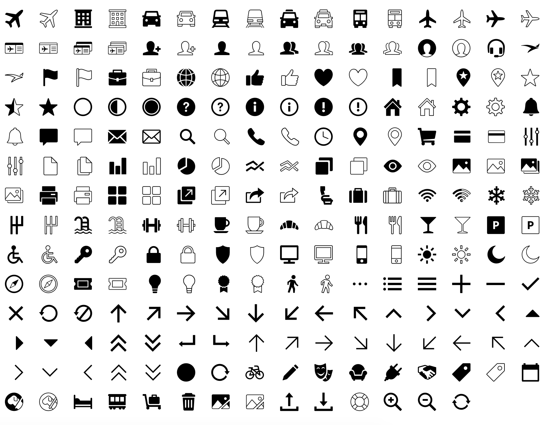 Previous icon set, 2015