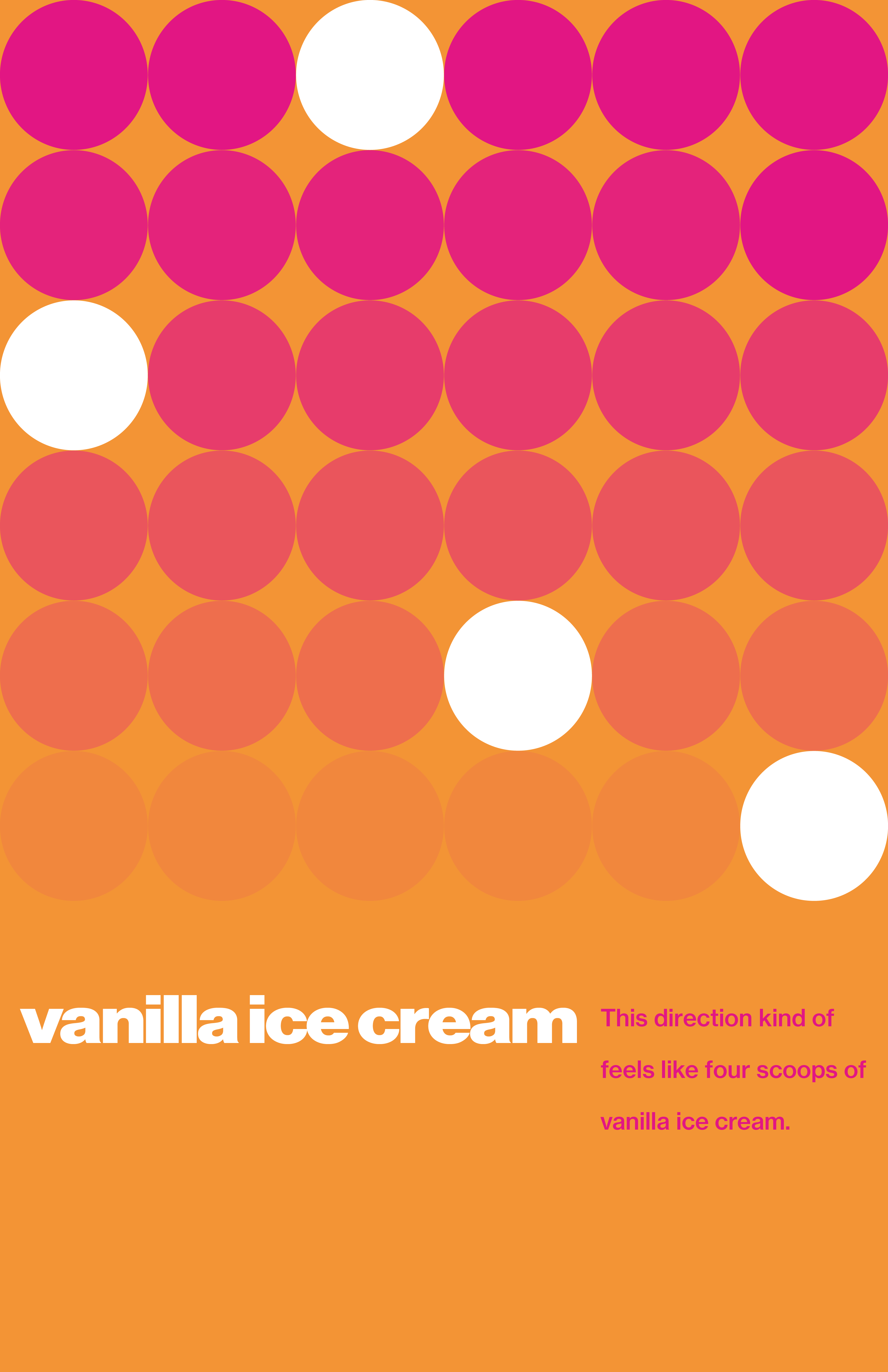 """Orange poster with a grid of pink and white dots displaying the quote, """"This direction kind of feel like four scoops of vanilla ice cream."""""""