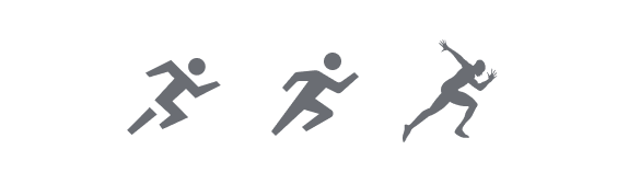 Example of 3 different running icons used throughout the training experience