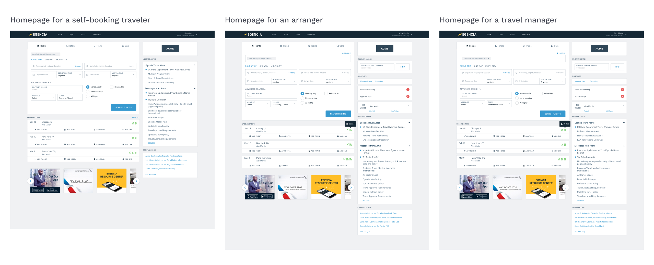 Screenshot of the homepage for a traveler, arranger, and travel manager. The screenshots have minimal differences.