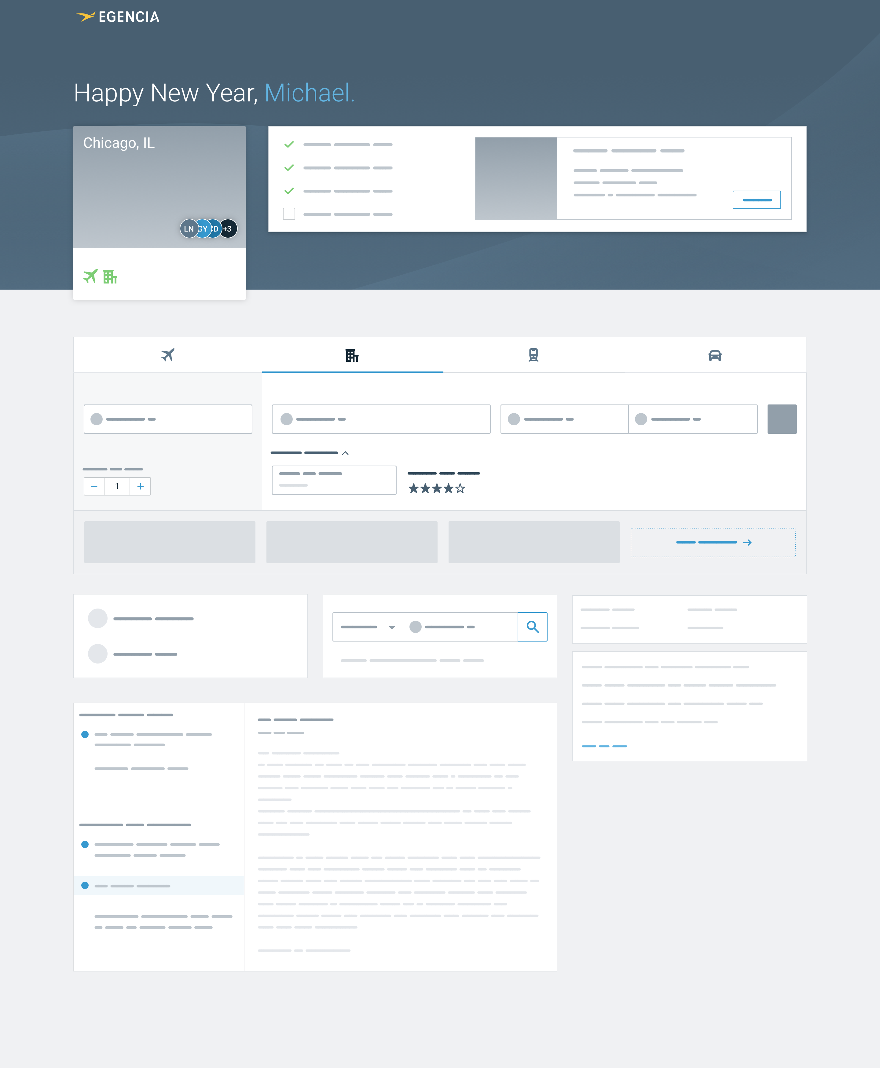 High fidelity wireframe of a new design for the homepage with upcoming trip checklist at the top of the page