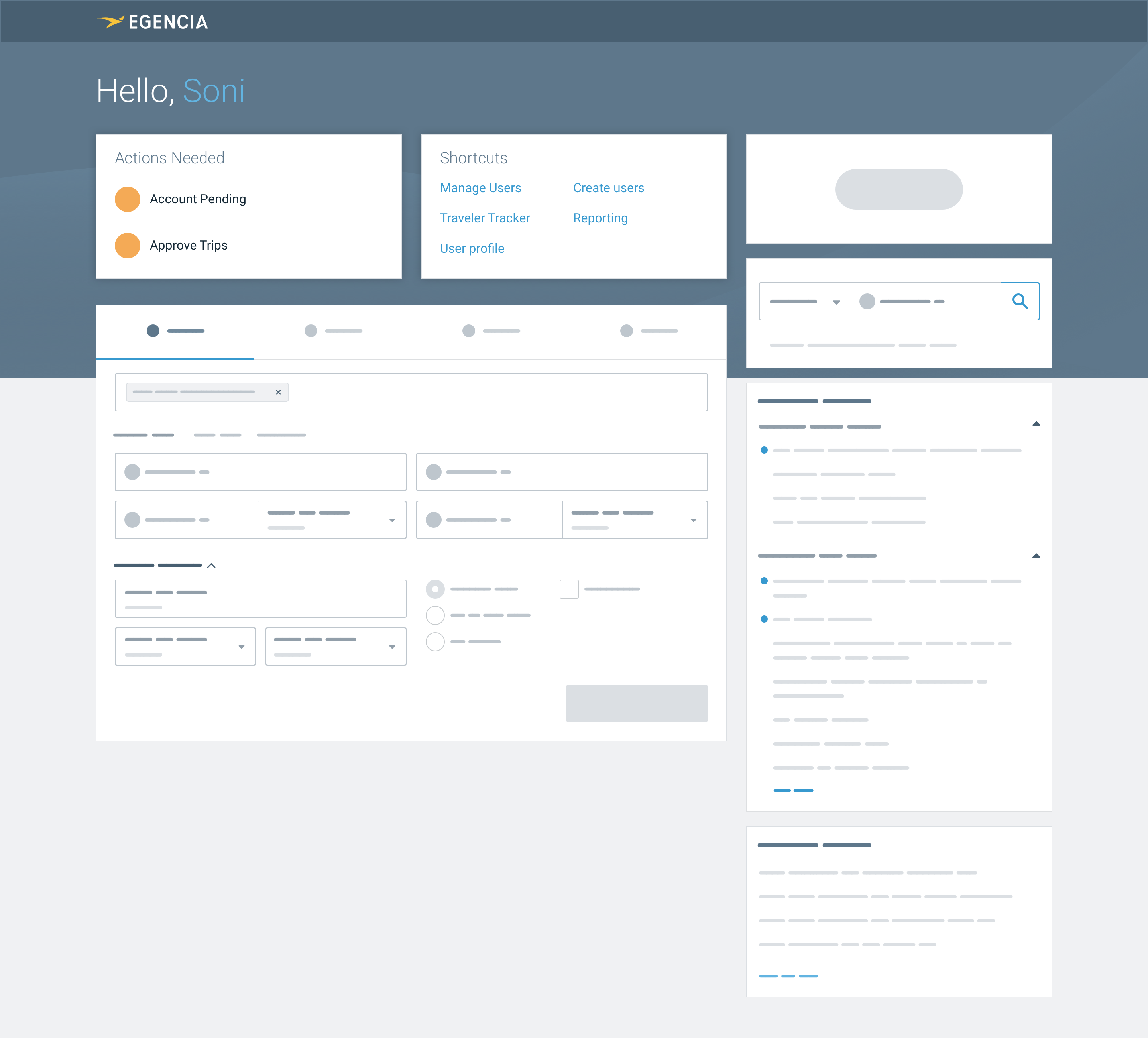High fidelity wireframe of a new design for the homepage with travel manager actions at the top of the page
