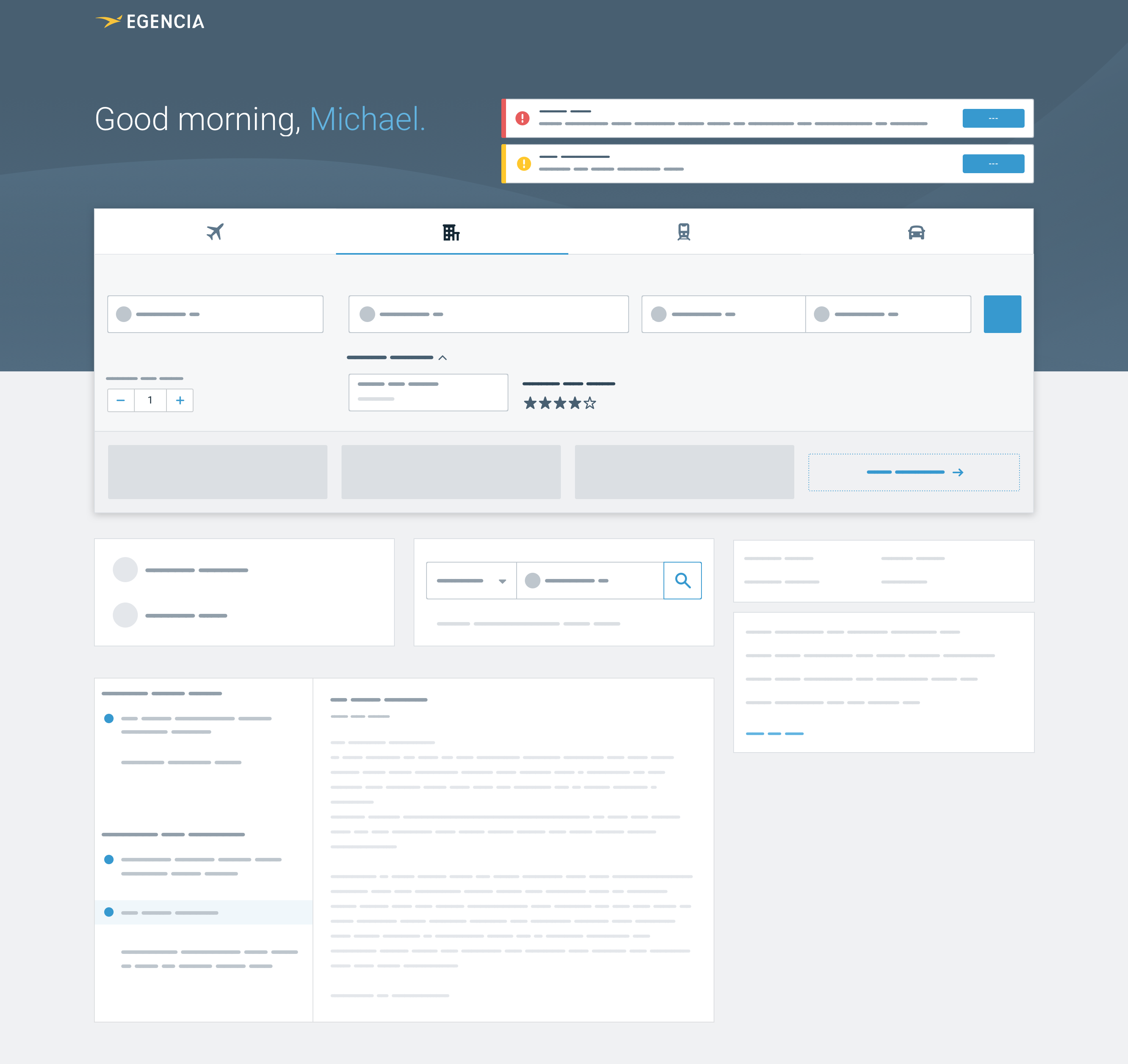 High fidelity wireframe of a new design for the homepage with document expiration alerts at the top of the page