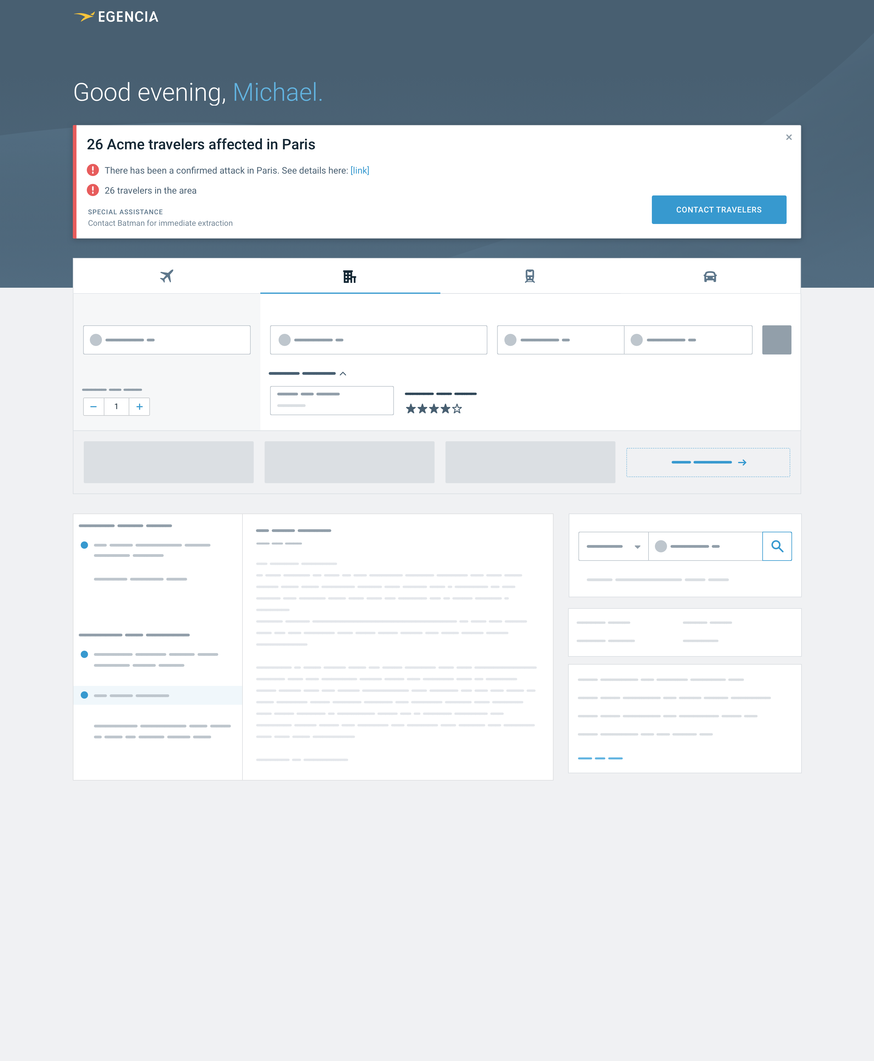 High fidelity wireframe of a new design for the homepage with risk management alerts at the top of the page
