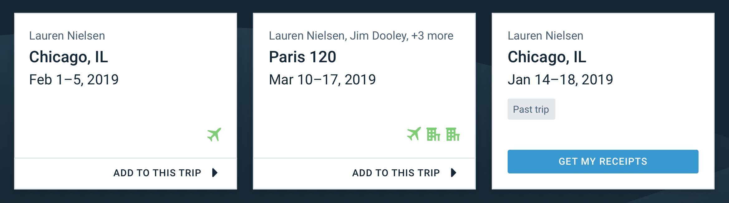 Example of a test to show travel receipts on a past trip card