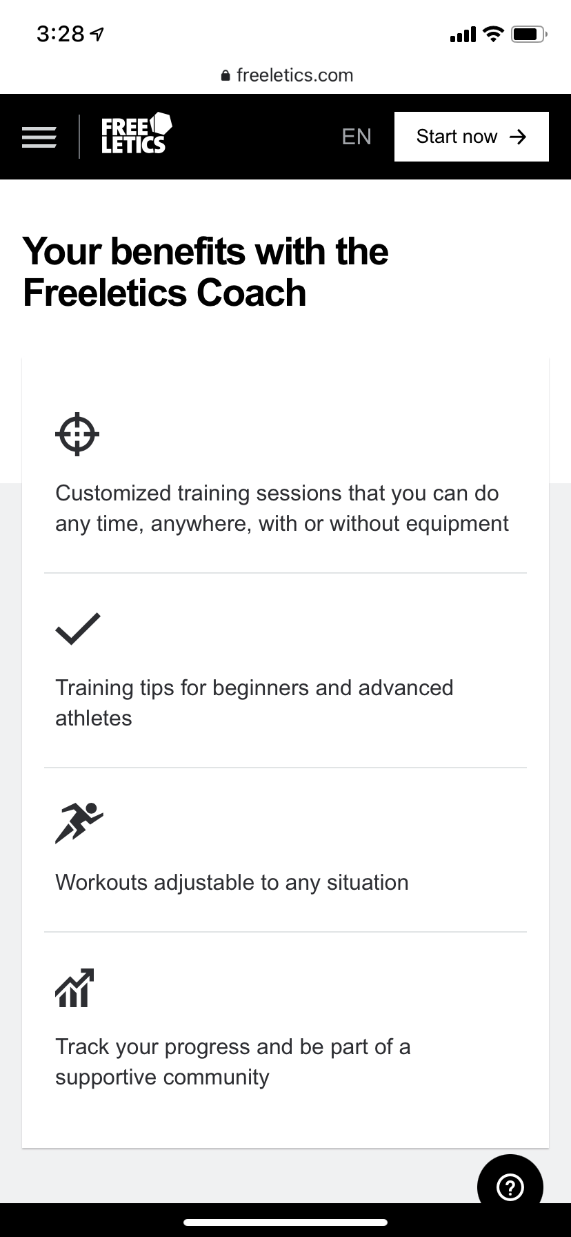 Screenshot of the mobile view of the Freeletics website