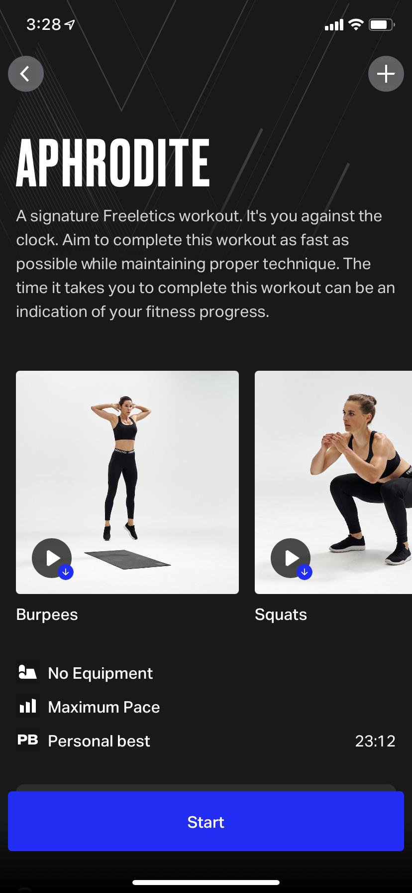 Screenshot on an iPhone of a God Workout screen with a big blue Start button