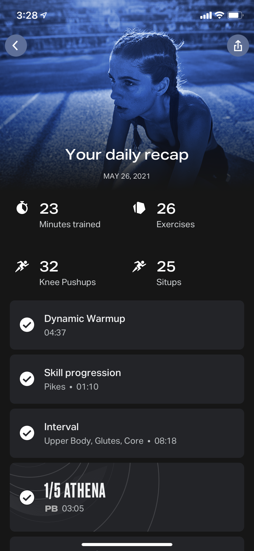 Screenshot on an iPhone of a post-workout screen displaying the workouts completed and a small number of stats