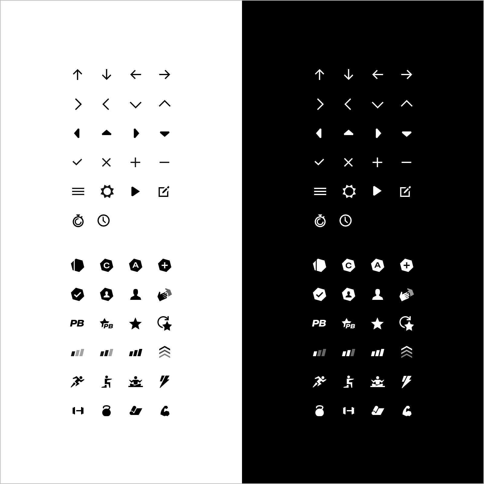 Layout of two sets of icons in a grid. One set is white on a black background, the other set is black on a white background.